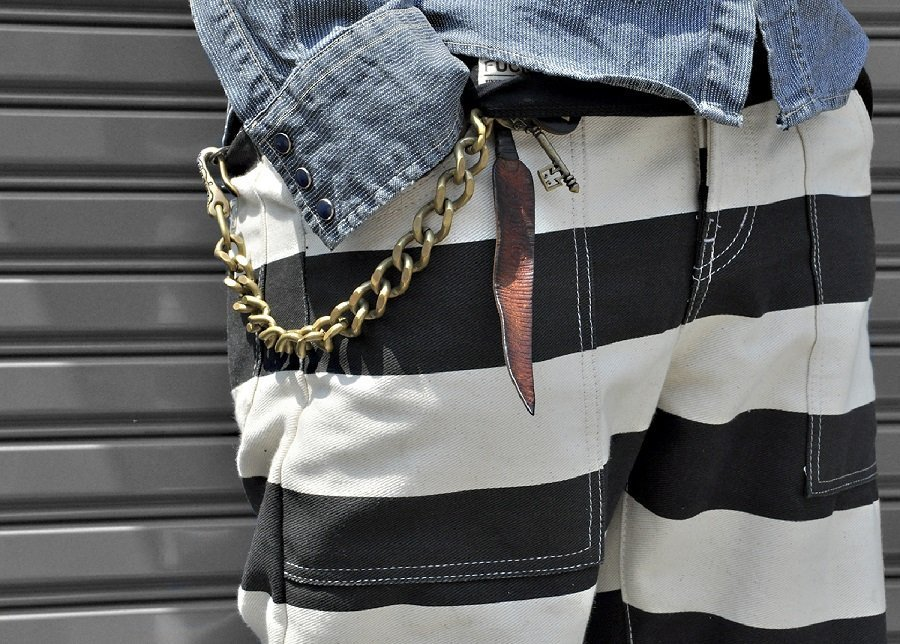 black and white striped pants-pantalon de prisonnier pour biker-Prisoner pants for biker