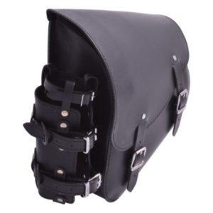 Sacoche Latérale Cuir Porte Bouteille Softail / Rear Swingarm Leather Bag with Bottle holder