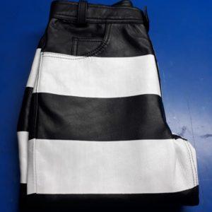 leather-jail-pants-biker-rayé-noir-blanc