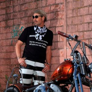 Pantalon-biker-prisonnier-bagnard-forcat-cuir-mappa-rayé-noir-blanc-harley