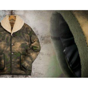blouson-aviateur-militaire-camouflage-col-mouton-véritable-pilote-armée de l'air