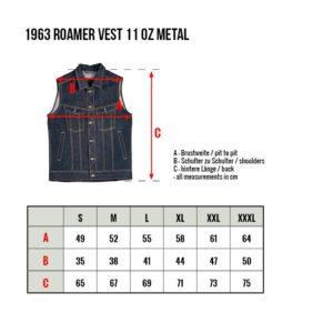 Gilet-jeans-denim-1963-Roamer-Vest-11oz-pike-brother-metal-tailles