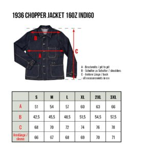 1936 Chopper Jacket 16oz indigo -Pike-Brothers-denim-veste-taille