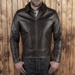 Veste-cuir-vintage-pike-brother-1932 Roadster-marron