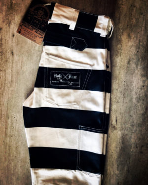 pantalon-prisonnier-denim-hold-fast-rayé-noir-blanc